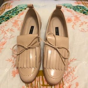 Nude pearl studded loafers